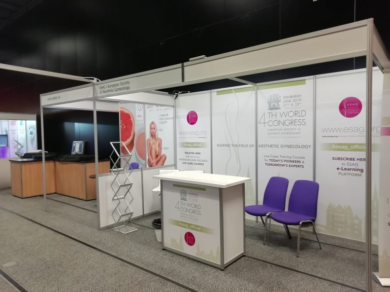 set up of temporary shell scheme exhibition at Edinburgh Conference Centre